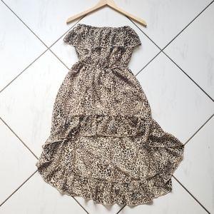 Ali & Kris 💜 High Low Dress Ruffles Lined Cheetah